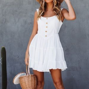 NWT White mini dress with buttons